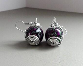 Fancy black and purple beaded earrings