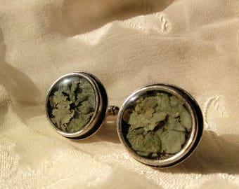 Common Greenshield Lichen Cufflinks, Antique Silver Plated, 22mm