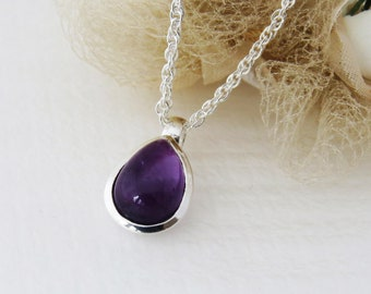 Amethyst Gemstone Pendant, Sterling Silver Gemstone Jewelry, Amethyst Necklace, Gift for Her