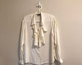 Vintage White Ruffled Button Down Blouse