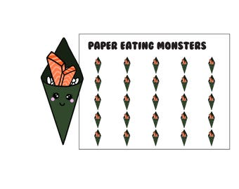 Kawaii Salmon Hand Roll Sushi // Kawaii Paper Eating Monsters // Planner Stickers