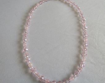 Pink Glass & Quartz Necklace