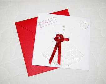 Red and white wedding congratulation card
