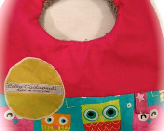 reversible baby bib Terry /tissu OWL