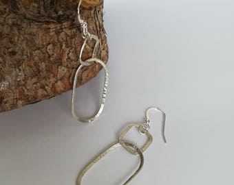silver dangle earrings, silver hoop earrings, silver earrings