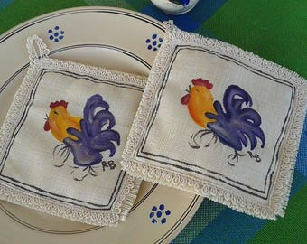 Hand painted pot Holders Pugliese