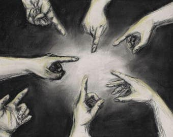 The Blame Game, Charcoal Drawing