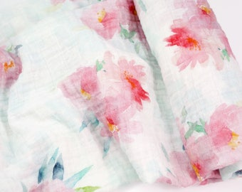 "Muslin Swaddle Blanket in Pink Floral Blooms - made from 100% cotton double gauze - 45"" square"
