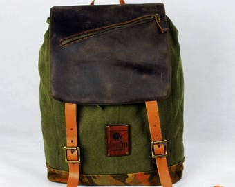 BRONCO by Claroscuro Brown leather green canvas backpack rucksack