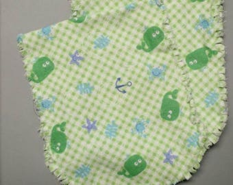 Single flannel burp cloth, green burp diaper, baby boy, ragged edge, reversible