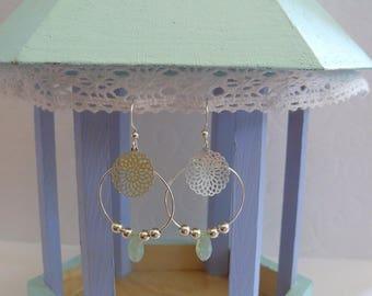 Filigree silver and Swarovski Mint earrings