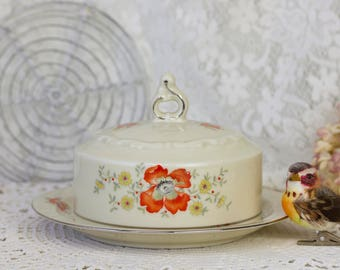 Mitterteich Bavaria antique butter dish with poppy