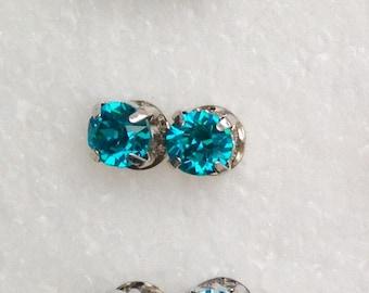 Earrings blue green Swarovski Crystal large format