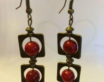 Bronze earrings with red jade stones
