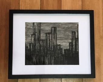 """Cityscapes and Skyscrapers Handmade Charcoal Drawing, 11 x 14"""" Frame, 8 x 10"""" Matte"""