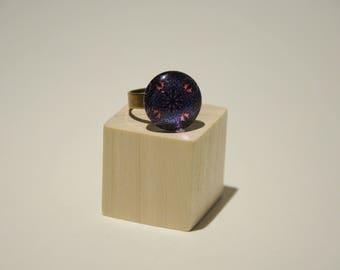 Adjustable blue & pink mandala cabochon ring