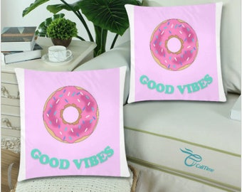 Donut Good Vibes Pillow Covers 18x18 (Set of 2)