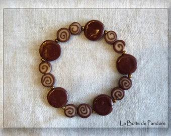 Chocolate and flesh polymer clay bracelet
