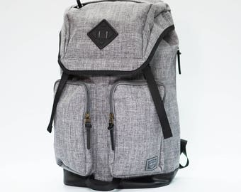Racoon Backpack LIGHT GREY, Leather bottom, high quality, backpack men, large volume, laptop backpack, travel backpack