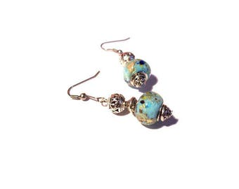 Retro earrings, beads blue Golden patterns
