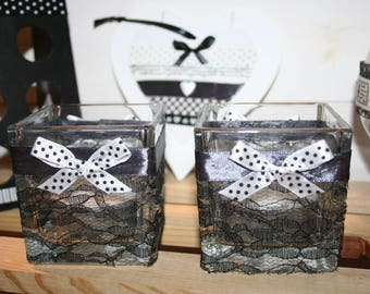 Square candle holder shabby Black Lace bows glass Christmas table
