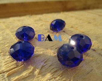 Set of 5 Crystal 12 mm faceted beads / 10 mm indigo blue