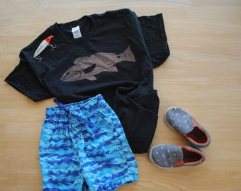 Redfish Bleach Dyed T-shirt: Youth and Toddler Sizes