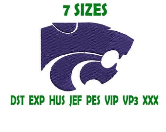 Kansas State Wildcats logo embroidery design - Instant Download machine embroidery pattern