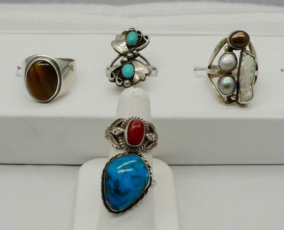 Lot of 5 Vintage Native American Rings with Tiger's Eye, Turquoise, Red Coral, Pearl in Sterling Silver