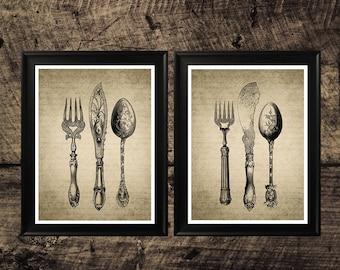 Vintage  cutlery set print, Kitchen decor, cutlery wall art, printable wall design, cutlery set art