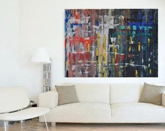 grand wall art, peinture abstraite, déco, Art contemporain, acrylique, mural wall decor, noir, rouges, jaune,bleu,art de toile, mixed médium
