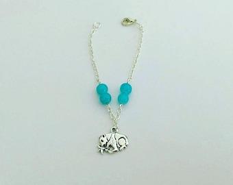Panda with blue beads silver bracelet / / Panda Silver Bracelet with Blue Beads