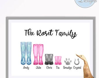 Personalised Family Print, Wellies Family Print, New Home Print, Family Prints, Wall Art, Graphic Design, Family Love Art, Family Art work,