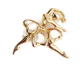 Vintage Ballerina Brooch Gold Tone with Mother of Pearl Accents