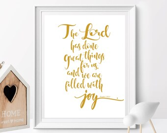 Nursery gift, The Lord has done great things for us,Psalms 126:3, Bible verse printable, Scripture Print , Christian Gift, Nursery Decor