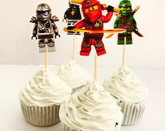 12x Lego Ninjago Party Food Cupcake Cake Topper Pick. Party Supplies Bunting Lolly Loot Bags Ninja