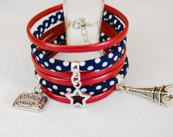 Cuff paris blue red white and Navy