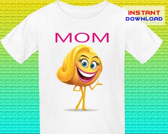 Mom Emoji Birthday Shirt Iron On, Emoji Iron On Transfer, Emoji Birthday Shirt Design, Digital File Only, Instant Download