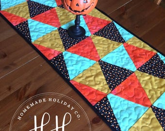 Halloween Table Runner-Halloween Decor-Quilted Table Runner-Modern Halloween Decor-Holiday Table-Halloween Table Cloth