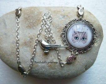 Cabochon tiger cat charm necklace