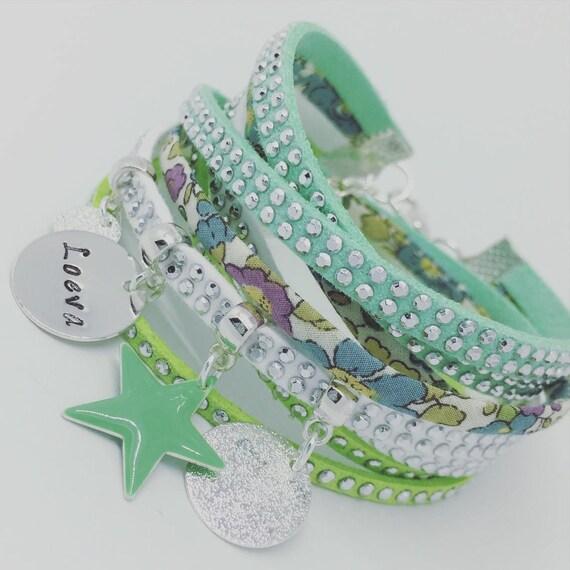 ★★ Jewel rhinestone customize ★★ multi-row Liberty betsy Ann with personalized engraving by Palilo Jewelry Personalized Bracelet