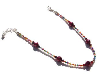 Ruby Red Multi Color Beaded Ankle Bracelet 10