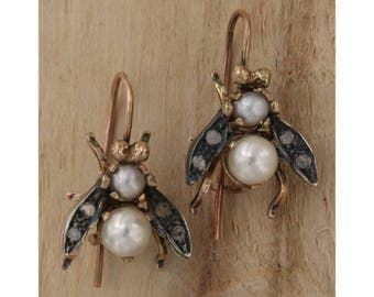 9 carat rose gold earrings Pearls and diamonds in the shape of bees, Flies, Pendants Earrings Antique Style handmade Bead Birds in Italy
