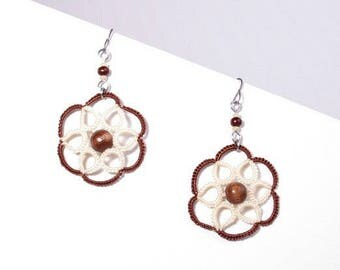 Brown and cream rosette lace earrings