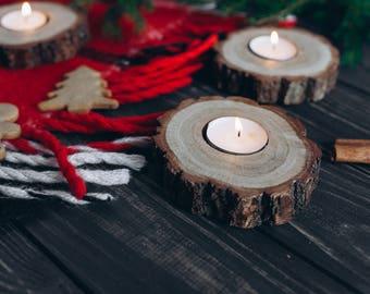 Rustic Candle Holders, Tea Light Holder, Oak Candle Holders, Rustic Wedding Decor, Home Decor, Wood Decor Warming