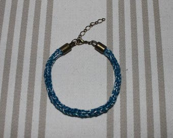 Iridescent peacock blue cotton knit bracelet