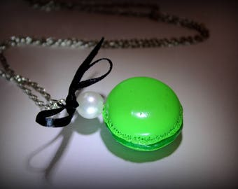 Polymer clay green pistachio macaroon necklace