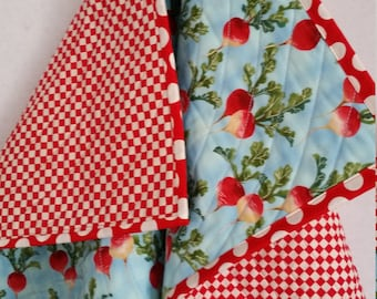 RADISHES, Baby Quilt, handmade, toddler quilt, PERSONALIZE, red Radishes, lightweight, blue quilt, red white checks, reversible