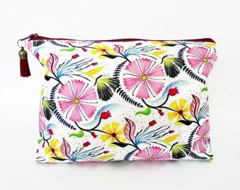 Canvas Wash bag, Floral make up bag, summer time cosmetic bag, zip bag, make up bag.