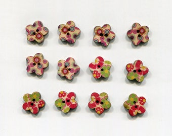set of 12 flower wood buttons * pattern * 17 mm